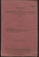 Records of the geological surveyof India, volume 83, part 1, 1950, 1951